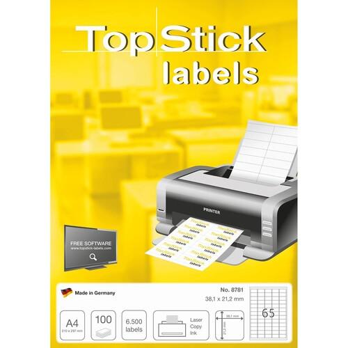 Etiketten Inkjet+Laser+Kopier 38,1x21mm auf A4 Bögen weiß BestStandard (PACK=6500 STÜCK) Produktbild Additional View 1 L