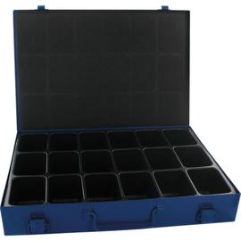 Sortimentskasten Blech 18Fächer 340x240x50mm Schaumstoffpolster bl Produktbild