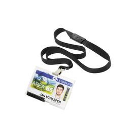 Kartenhalter Pushbox Mono 54x87mm für 1 Karte mit Textilband Durable 8927 transparent/schwarz (PACK=10 STÜCK) Produktbild