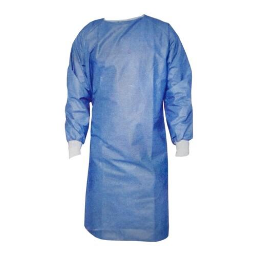 Einwegkittel blau mit Strickbund und Schleifen EN ISO 13485:2016/13795:2019 Produktbild