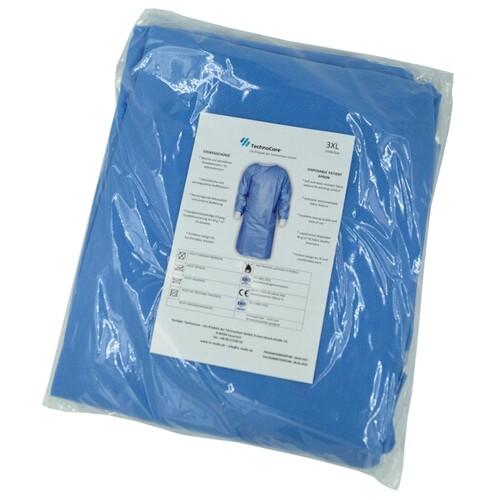 Einwegkittel blau mit Strickbund und Schleifen EN ISO 13485:2016/13795:2019 Produktbild Additional View 1 L
