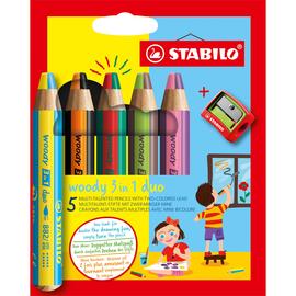Multitalent-Stift woody 3 in 1 duo Kartonetui farbig sortiert Stabilo mit Spitzer 882/05-2 (PACK=5 STÜCK) Produktbild