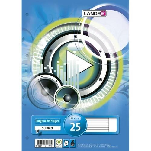Ringbucheinlagen A4 Lineatur 25 liniert mit freiem Rand 70g weiß holzfrei Landré 100050486 (PACK=50 BLATT) Produktbild