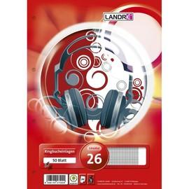 Ringbucheinlagen A4 Lineatur 26 kariert mit freiem Rand 70g weiß holzfrei Landré 100050487 (PACK=50 BLATT) Produktbild