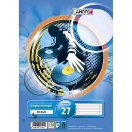 Ringbucheinlagen A4 Lineatur 27 liniert Rand links+rechts 70g weiß holzfrei Landré 100050488 (PACK=50 BLATT) Produktbild