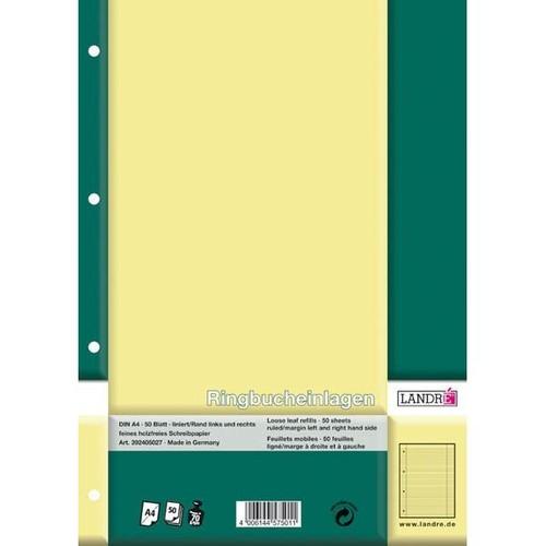 Ringbucheinlagen A4 Lineatur 27 liniert Rand links+rechts 70g weiß holzfrei Landré 100050488 (PACK=50 BLATT) Produktbild Additional View 1 L