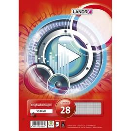 Ringbucheinlagen A4 Lineatur 28 kariert Rand links+rechts 70g weiß holzfrei Landré 100050489 (PACK=50 BLATT) Produktbild