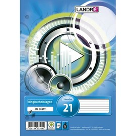 Ringbucheinlagen gelocht A5 Lineatur 4 liniert 70g weiß holzfrei Landré 100050495 (PACK=50 BLATT) Produktbild