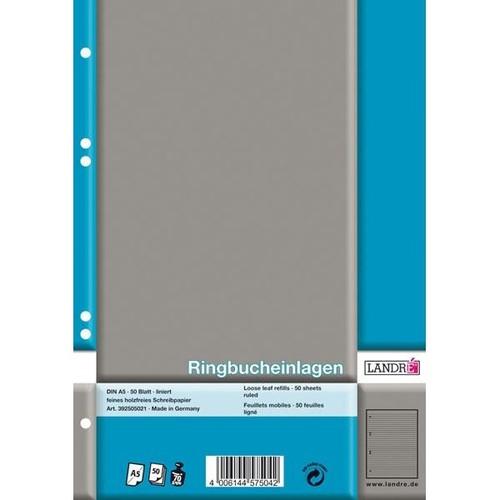 Ringbucheinlagen gelocht A5 Lineatur 4 liniert 70g weiß holzfrei Landré 100050495 (PACK=50 BLATT) Produktbild Additional View 1 L