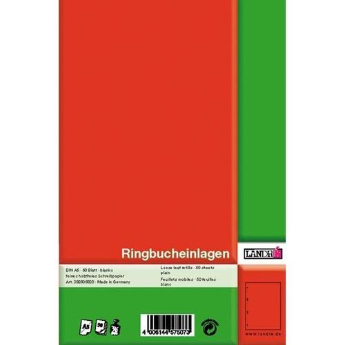 Ringbucheinlagen gelocht A5 Lineatur 6 blanko 70g weiß holzfrei Landré 100050494 (PACK=50 BLATT) Produktbild Additional View 1 L