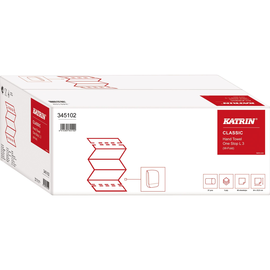 Katrin Papierhandtuch 345102 3lg. 23,5x34cm weiß 21x90 St./Pack. (PACK=1890 STÜCK) Produktbild