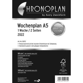 Wochenplan 2022 für Organizer A5 1Woche/2Seiten Chronoplan vertikale Zeilen 148x210mm 50572 Produktbild