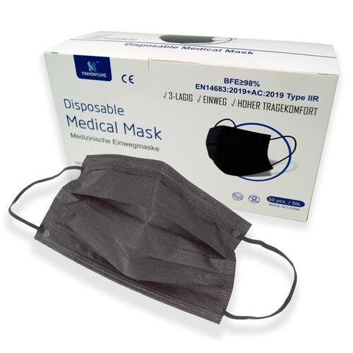 Mund- und Nasenmaske / OP-Maske schwarz 3-lagig zert. EN14683:2019 Typ II R Produktbild Additional View 1 L