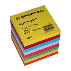 Zettelklotz geleimt 9x9x9cm 850Blatt 8-farbig Papier Soennecken 05805 Produktbild