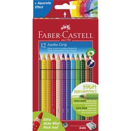 Farbstifte mit Noppen JUMBO GRIP dreikant Kartonetui + Spitzer sortiert Faber Castell 110912 (PACK=12 STÜCK) Produktbild