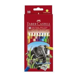 Farbstifte JUMBO sechskant Kartonetui + Spitzer sortiert Faber Castell 111210 (PACK=10 STÜCK) Produktbild