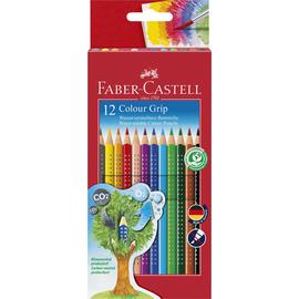 Farbstifte mit Noppen COLOUR GRIP dreikant Kartonetui sortiert Faber Castell 112412 (PACK=12 STÜCK) Produktbild