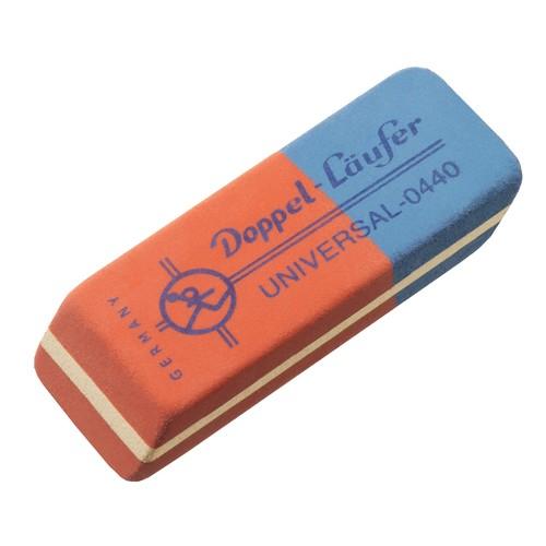 Radiergummi UNIVERSAL 55x19x8,5mm rot/blau Kautschuk Läufer 04400 Produktbild