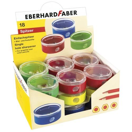 Spitzer einfach mit Behälter rund flach farbig sortiert Eberhard Faber 585130 Produktbild Front View L