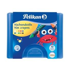 Wachsmalkreiden 655/10 mit Schiebehülse im blauen Kunststoffetui sortiert wasserlöslich Pelikan 723155 (ETUI=10 STÜCK) Produktbild