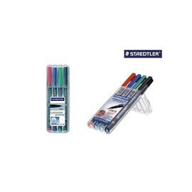 Folienstifte Lumocolor 314 B Etui 1-2,5mm breit sortiert wasserfest Staedtler 314WP4 (ETUI=4 STÜCK) Produktbild