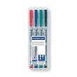 Folienstifte Lumocolor 312 B Etui 1-2,5mm breit sortiert wasserlöslich Staedtler 312WP4 (ETUI=4 STÜCK) Produktbild