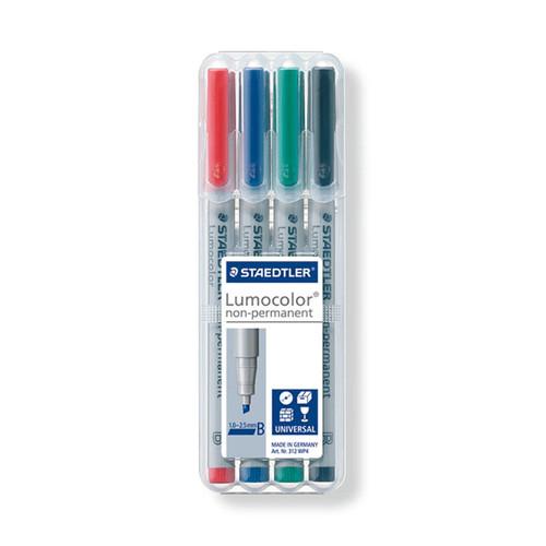 Folienstifte Lumocolor 312 B Etui 1-2,5mm breit sortiert wasserlöslich Staedtler 312WP4 (ETUI=4 STÜCK) Produktbild Front View L