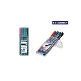 Folienstifte Lumocolor 313 S Etui 0,4mm superfein sortiert wasserfest Staedtler 313WP4 (ETUI=4 STÜCK) Produktbild