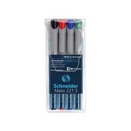 Folienstifte Maxx 221 S Etui 0,4mm superfein sortiert wasserlöslich Schneider 112594 (ETUI=4 STÜCK) Produktbild