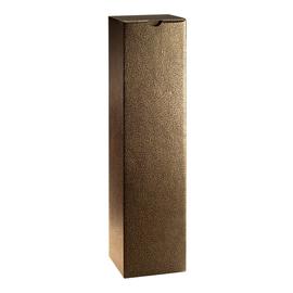 Geschenkkarton Couro braun-gold 90 x 90 x 360mm / Für 1 Flasche Produktbild