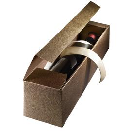 Geschenkkarton Couro braun-gold 90 x 90 x 380mm / Für 1 Flasche Produktbild
