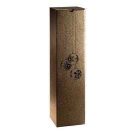 Geschenkkarton Couro braun-gold  90x90x360mm / Für 1 Flasche Produktbild