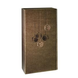 Geschenkkarton Couro braun-gold 180 x 90 x 360mm / Für 2 Flaschen Produktbild