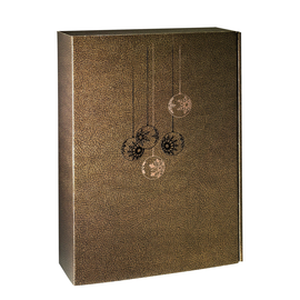Geschenkkarton Couro braun-gold 270 x 90 x 360mm / Für 3 Flaschen Produktbild