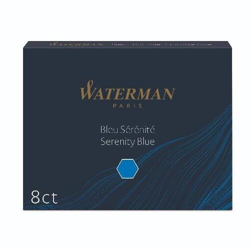 Tintenpatrone Standard für Füllhalter Serenity blue Waterman S0110860 (PACK=8 STÜCK) Produktbild Front View L