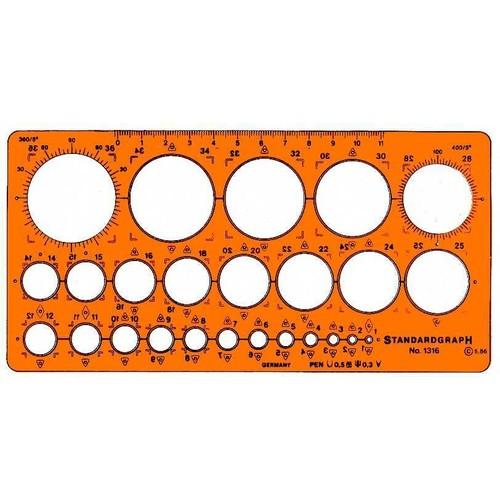 Kreis-Schablone 25 Kreise ø 1-36mm ohne Tuschefacette für 0,5mm Stifte 200x100x1,3mm Standardgraph 1316 Produktbild Front View L