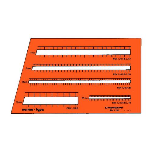 Beschriftungslineal normo-type für 0,25/0,35/0,5/0,7/1,0mm Stifte Standardgraph 4260 Produktbild Front View L