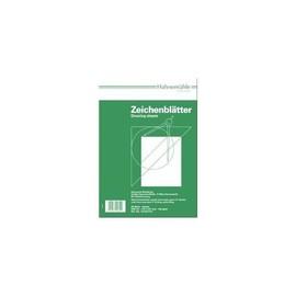 Zeichenblätter A4 21,0x29,7cm hoch mit Rand + Schriftfeld 190g weiß holzfrei Hahnemühle 10624612 (PACK=20 BLATT) Produktbild