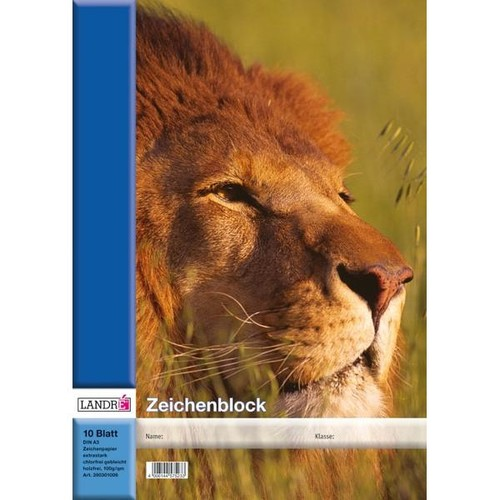 Zeichenblock A3 perforiert 10Blatt Landré 4 Tier-Motive Produktbild Additional View 2 L