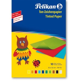 Tonpapier Mappe mit Bastel-Beispiel 22x32cm 130g sortiert Pelikan 137968 (PACK=10 BLATT) Produktbild