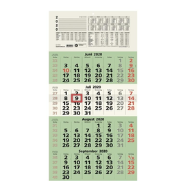 Viermonatskalender 2020 33x63,5cm grün Zettler 959-0700 Produktbild