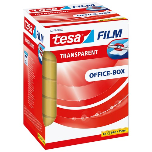Klebefilm Transparent 25mm x 66m transparent Tesa 57379-00002-00 (PACK=6 ROLLEN) Produktbild Additional View 2 L