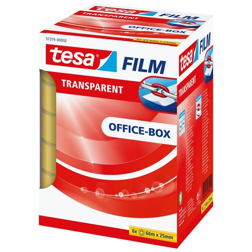 Klebefilm Transparent 25mm x 66m transparent Tesa 57379-00002-00 (PACK=6 ROLLEN) Produktbild Additional View 1 L