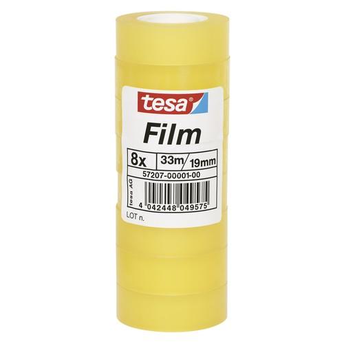 Klebefilm Standard 19mm x 33m transparent Tesa 57207-00001-00 (PACK=8 ROLLEN) Produktbild Front View L