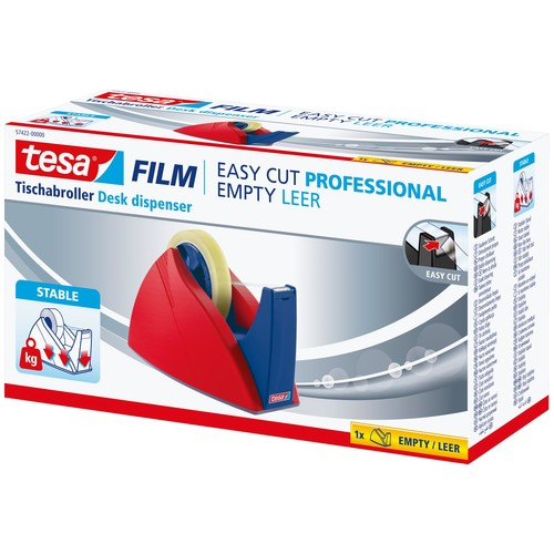 Tischabroller Easy Cut leer füllbar bis 25mm x 66m rot/blau Tesa 57422-00000-02 Produktbild Additional View 2 L