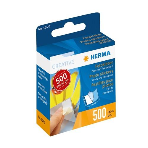 Fotokleber im Kartonspender beidseitig klebend Herma 1070 (PACK=500 STÜCK) Produktbild Front View L