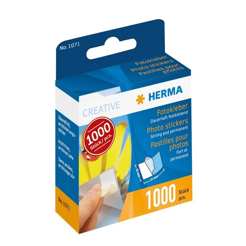 Fotokleber im Kartonspender beidseitig klebend Herma 1071 (PACK=1000 STÜCK) Produktbild Front View L