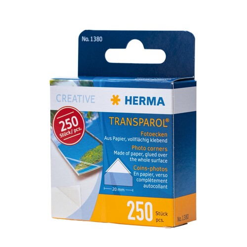 Foto-Ecken Transparol Im Kartonspender selbstklebend Herma 1380 (PACK=250 STÜCK) Produktbild Front View L