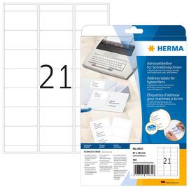 Adress-Etiketten für Handbeschriftung 67x38mm auf A4 Bögen weiß Herma 4431 (PACK=420 STÜCK) Produktbild