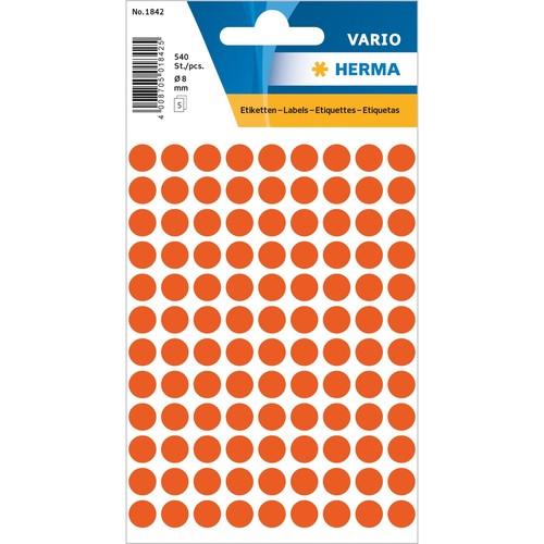 Herlitz Etiketten Markierungspunkte 19 mm Gelb 4 Bögen 1 Packung